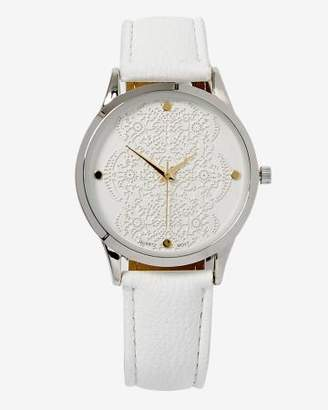 Addition Elle White Watch With Lace Dial Detail