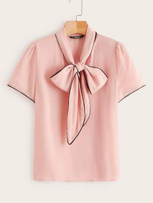 a00037451e8825 Shein Tie Neck Contrast Piping Blouse