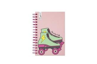 575 Denim Yoobi Spiral Notebook with Pocket Roller Skate 120 Sheets 5.75'' x 8.5''