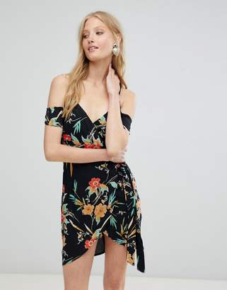 Love & Other Things Tropical Floral Print Wrap Dress