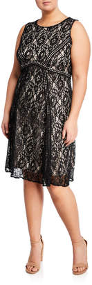 Taylor Sleeveless Lace Cocktail Dress, Plus Size