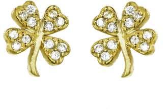 Jennifer Meyer Mini Diamond Four-Leaf Clover Stud Earrings - Yellow Gold