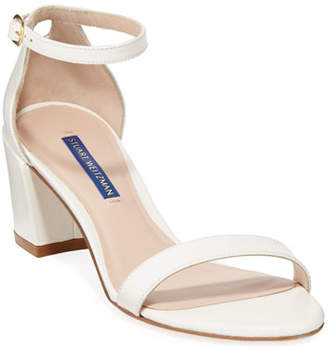 Stuart Weitzman Simple Caviar Patent Ankle-Strap Sandals