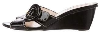 Prada Sport Patent Leather Slide Wedges