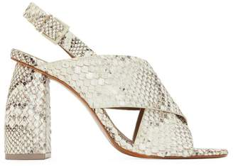 Mercedes Castillo Snakeskin Embossed Block Heel Sandals