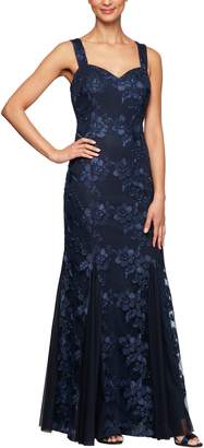 Alex Evenings Embroidered Lace Trumpet Gown with Jacket