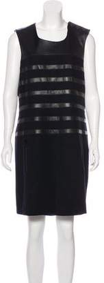 Jean Paul Gaultier Leather-Accented Wool Dress