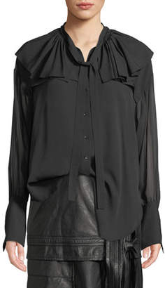 3.1 Phillip Lim Silk Shirt W Ruffle Collar