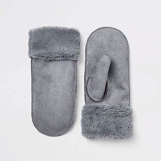 River Island Light blue faux fur lined shearling mittens