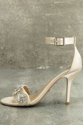 Blue by Betsey Johnson Gina Champagne Satin Ankle Strap Heels $109 thestylecure.com