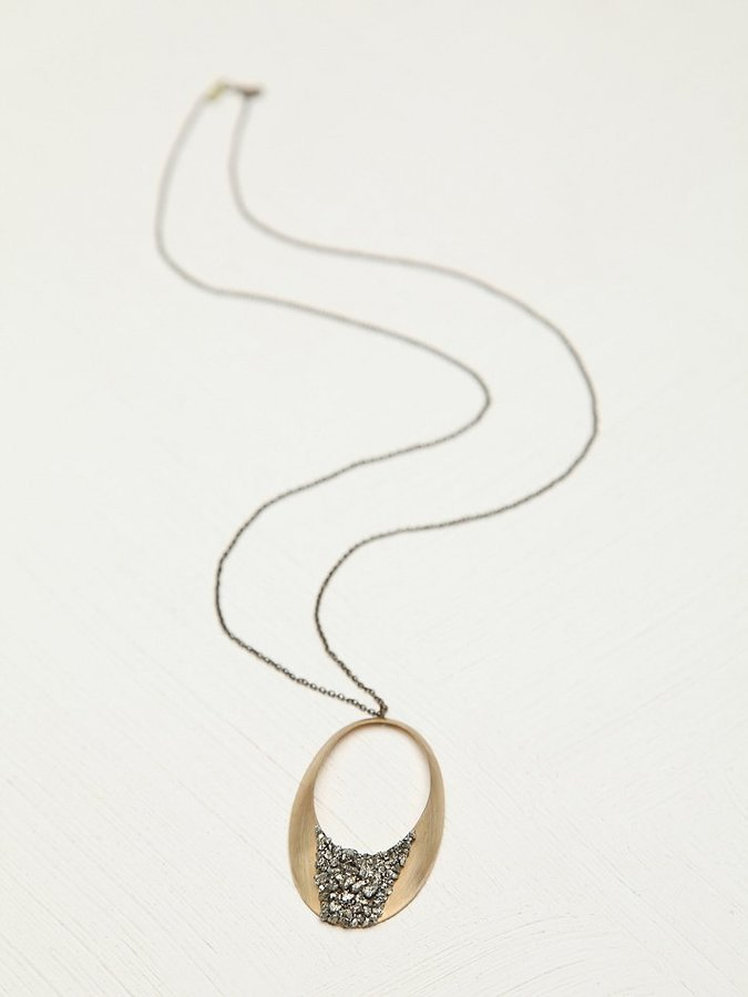 Free People Marly Moretti Stone Topped Circle Necklace