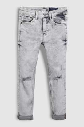 Next Boys Bleach Wash Grey Distressed Jeans (3-16yrs)