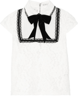 Alice + Olivia - Vanetta Silk-chiffon And Velvet-trimmed Cotton-blend Lace Blouse - White $395 thestylecure.com