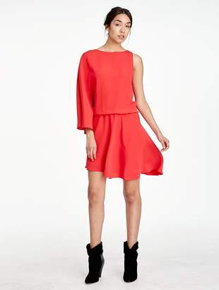 Halston Asymmetric Silk Viscose Flowy Dress