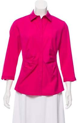 Lafayette 148 Ruched Button-Up Blouse