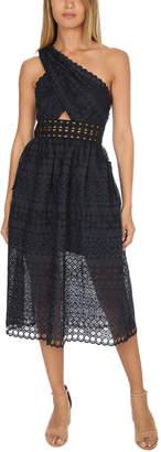Self-Portrait One Shoulder Cut Out Midi Dress