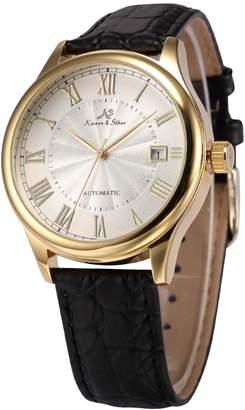 K&S Kronen Soehne KS KS241 Men's Automatic Mechanical Watch Analog Date Display Black Leather Band