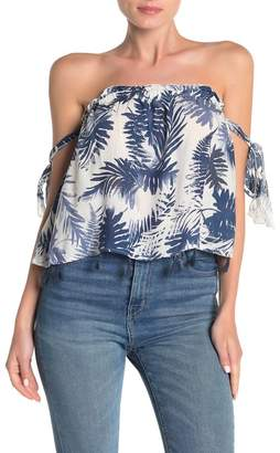 Surf.Gypsy Palm Leaf Off-the-Shoulder Top