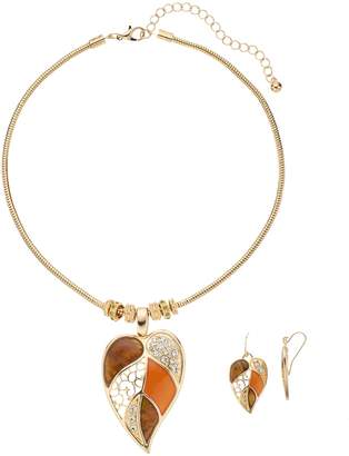 Multicolor & Crystal Leaf Pendant Necklace & Earring Set