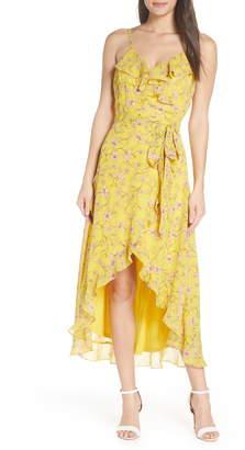 AVEC LES FILLES Floral High/Low Wrap Midi Dress