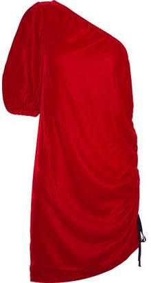 Petersyn Bendel One-Shoulder Ruched Velvet Mini Dress