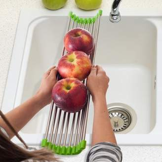 Chef Buddy Long Folding Drain Sink Rack Stainless Steel Colander Drying Tray