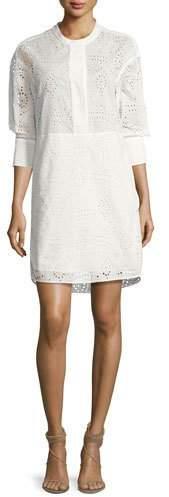 Burberry Collarless Eyelet Oversized Shirtdress