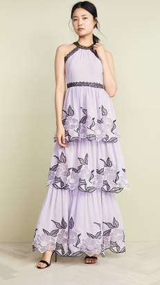 Marchesa Tulle Tiered Gown with Lace Trim