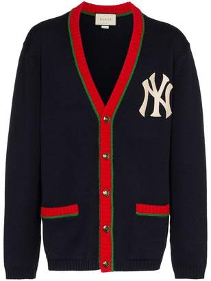 Gucci Embroidered Yankees Logo Tricolour Cardigan