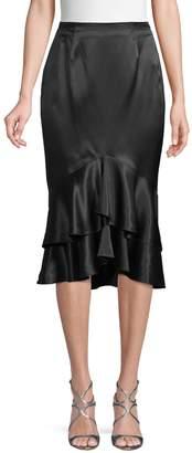 Cinq à Sept Ruffled Silk Pencil Skirt