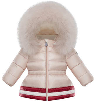 Moncler Clotilde Contrast-Hem Puffer Jacket w/ Fur Trim, Size 12M-3