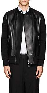 Neil Barrett Men's Leather & Bonded Jersey Moto Jacket - Black