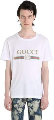 Gucci Vintage Logo Print Cotton Jersey T-Shirt