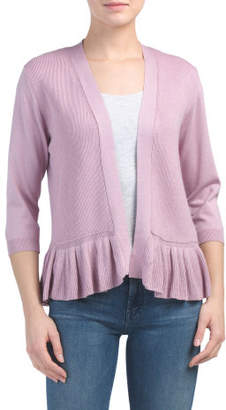 Petite Open Front Cardigan With Ruffle Hem
