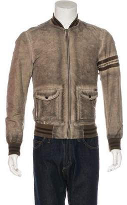 Dolce & Gabbana Distressed Lambskin-Trimmed Bomber Jacket