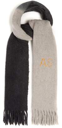 Acne Studios Dip Dye Embroidered Tasselled Scarf - Womens - Grey