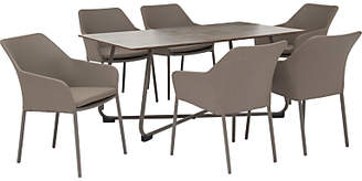 Kettler Manhattan 6 Seater Garden Table and Wrap Chairs Set, Taupe