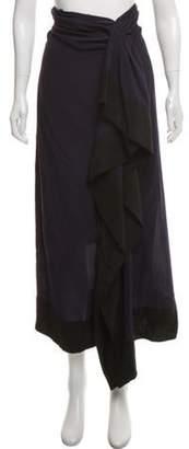 Dries Van Noten Ruffle Accent Midi Skirt w/ Tags Navy Ruffle Accent Midi Skirt w/ Tags
