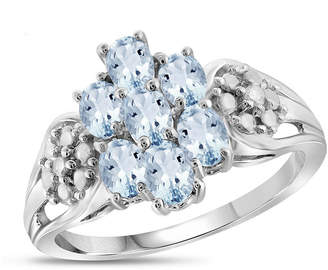 FINE JEWELRY Womens Diamond Accent Blue Aquamarine Sterling Silver Cluster Ring