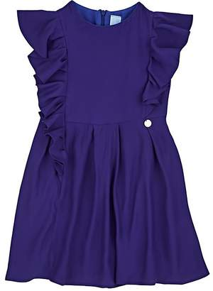 Lanvin KIDS' RUFFLED CRÊPE DE CHINE FIT & FLARE DRESS