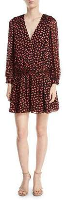 Alice + Olivia Tessie Drop-Waist Heart-Burnout Velvet Dress