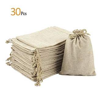 "ANPHSIN 30 Pack Burlap Bag with Drawstring - 7.1"" x 4.9"" Gift Bag Jewelry Pouches Sacks for Wedding Favors"