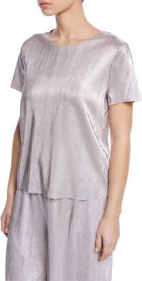Kensie Short-Sleeve Shiny Plisse Top