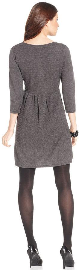 Style&Co. Petite Dress, Three-Quarter-Sleeve Mixed-Stitch Sweaterdress