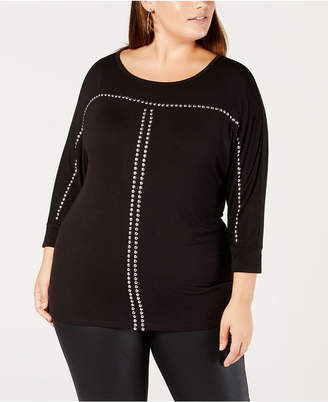 Belldini Belle by Plus Size Dolman-Sleeve Studded Top