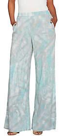 Halston H by Petite Full Length Printed WideLeg Pants