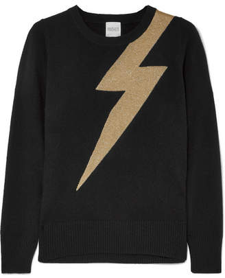 Madeleine Thompson Greve Metallic Intarsia Cashmere Sweater - Black