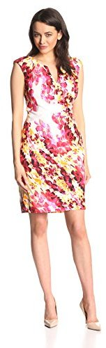 Adrianna Papell Women's Cap-Sleeve Floral Side-Gather Dress