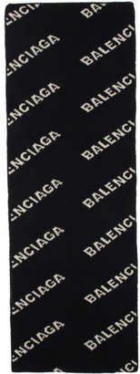 Balenciaga Black and White Allover Logo Scarf