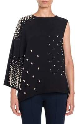 Stella McCartney Pearl Stud One-Shoulder Blouse